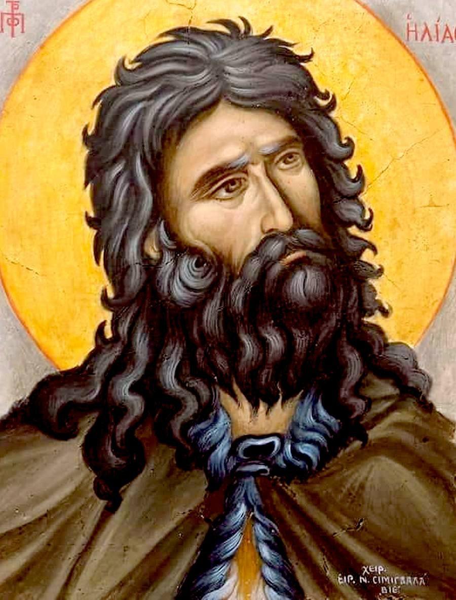 Святой Пророк Божий Илия. Современная переносная фреска. Иконописец Ирини Симигдала (Греция).