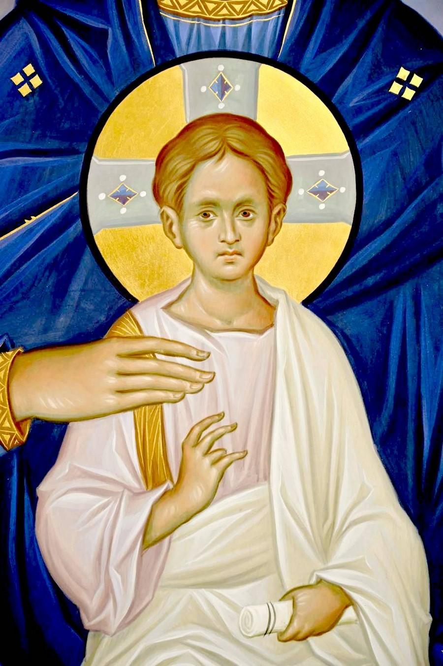 Пресвятая Богородица с Младенцем на троне. Современная икона. Фрагмент.
