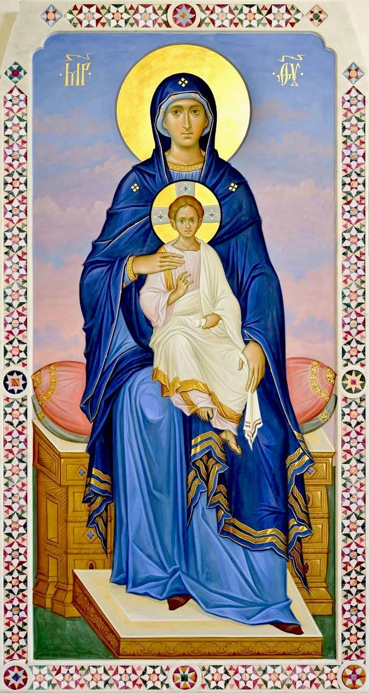 Пресвятая Богородица с Младенцем на троне. Современная икона.