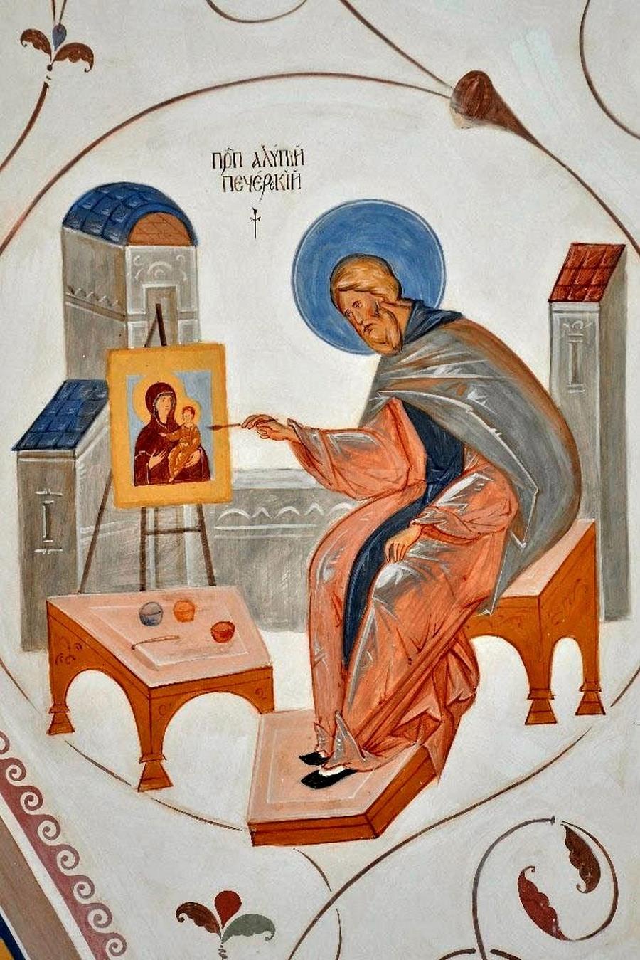 Святой Преподобный Алипий, иконописец Печерский. Роспись братской трапезной Троице-Сергиевой Лавры.