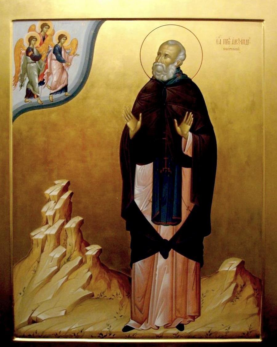 Святой Преподобный Александр Свирский. Современная икона.