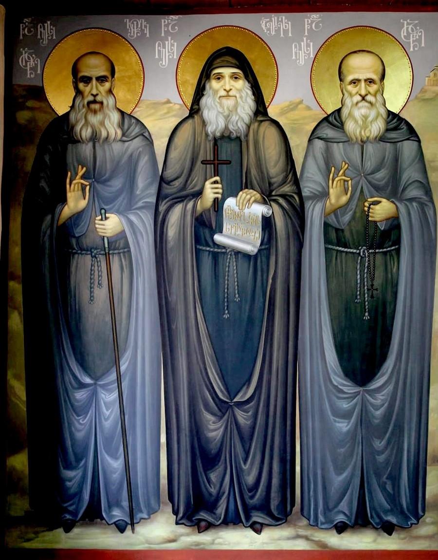 Святые Преподобноисповедники Георгий-Иоанн (Мхеидзе), Гавриил (Ургебадзе), Иоанн (Майсурадзе).
