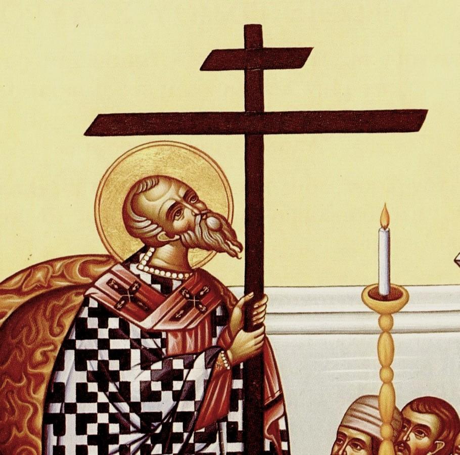 Воздвижение Честного и Животворящего Креста Господня. Современная икона. Фрагмент.