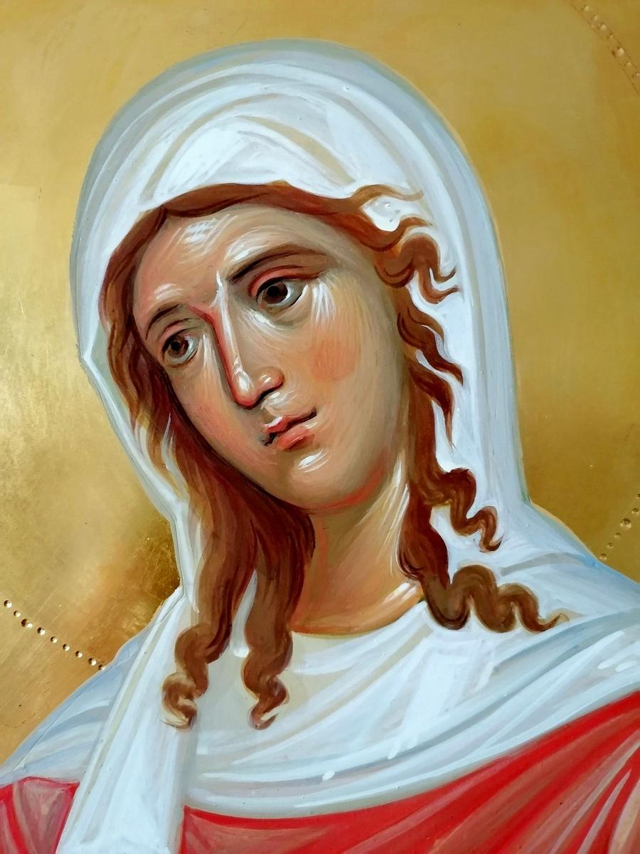 Святые Священномученик Киприан и Мученица Иустина. Иконописец Наталия Пискунова. Фрагмент иконы.