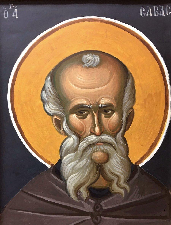 Святой Преподобный Савва Освященный. Современная фреска.