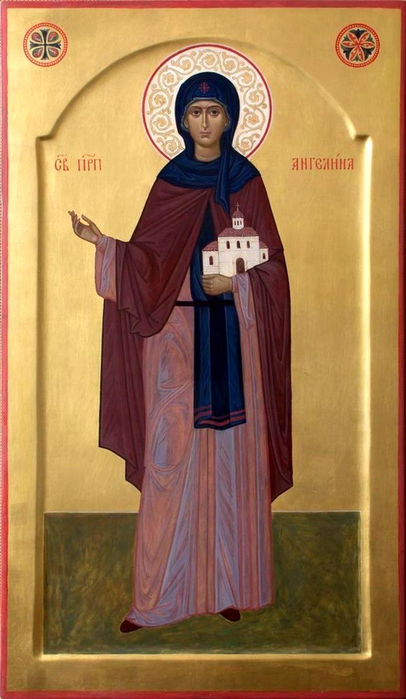 Святая Преподобная Ангелина, деспотица Сербская. Современная икона.