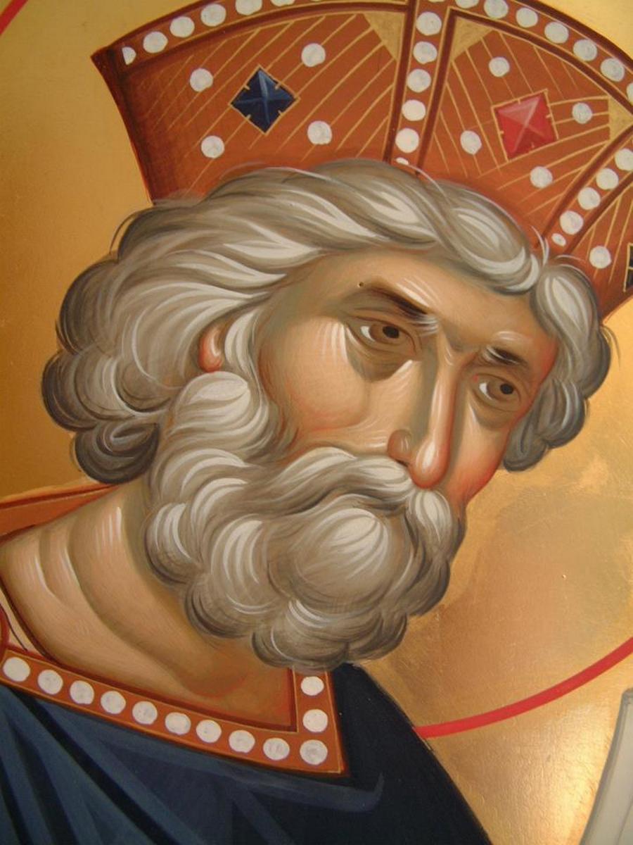 Святой Пророк Царь Давид. Современная икона. Лик.