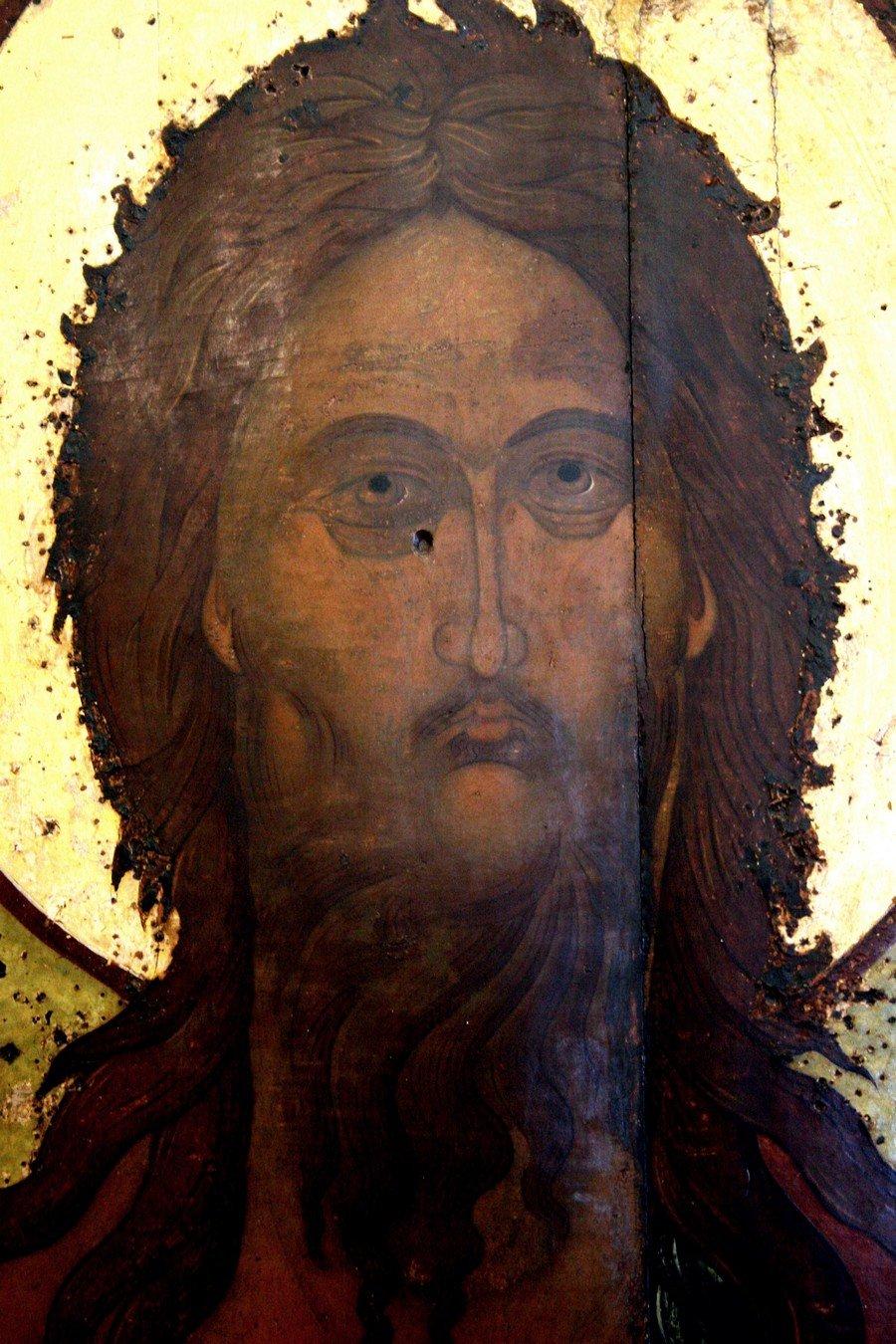 Святой Пророк, Предтеча и Креститель Господень Иоанн. Икона. Ярославль, XVI век. Фрагмент.