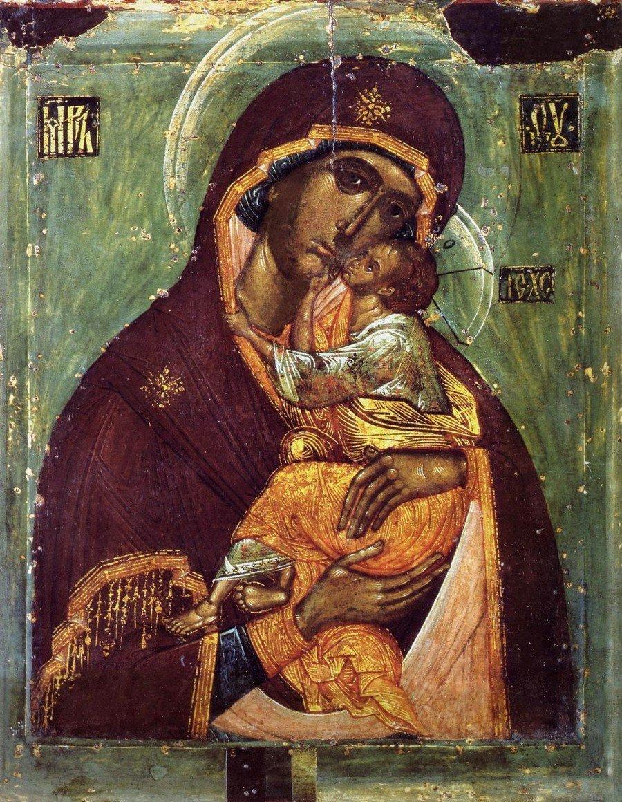 """Икона Божией Матери """"Моление игумена Филиппа"""". Средняя Русь, первая четверть XVI века."""