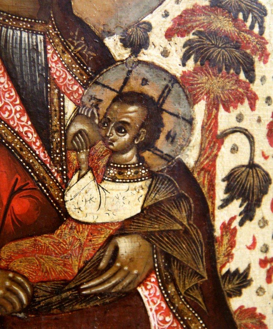 """Икона Божией Матери """"Млекопитательница"""". Россия, первая половина XVIII века. Фрагмент."""