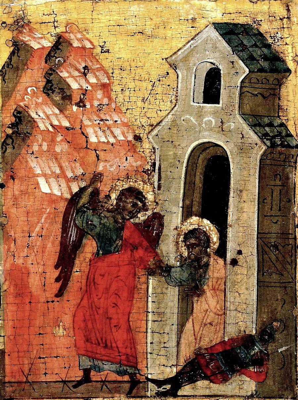 Изведение Святого Апостола Петра из темницы. Фрагмент иконы. Ростовские земли, вторая половина - последняя треть XV века.