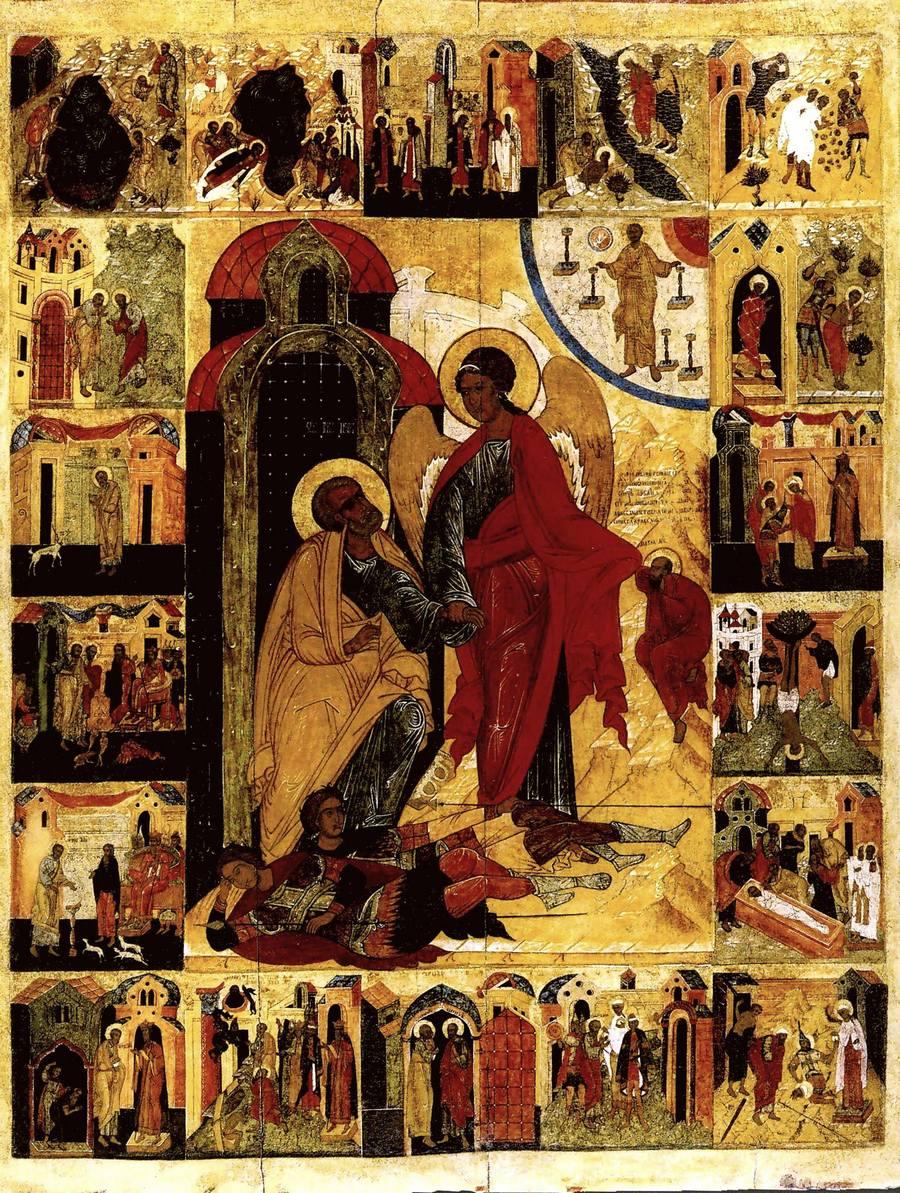Изведение Святого Апостола Петра из темницы. Икона. Новгород, середина XVI века.