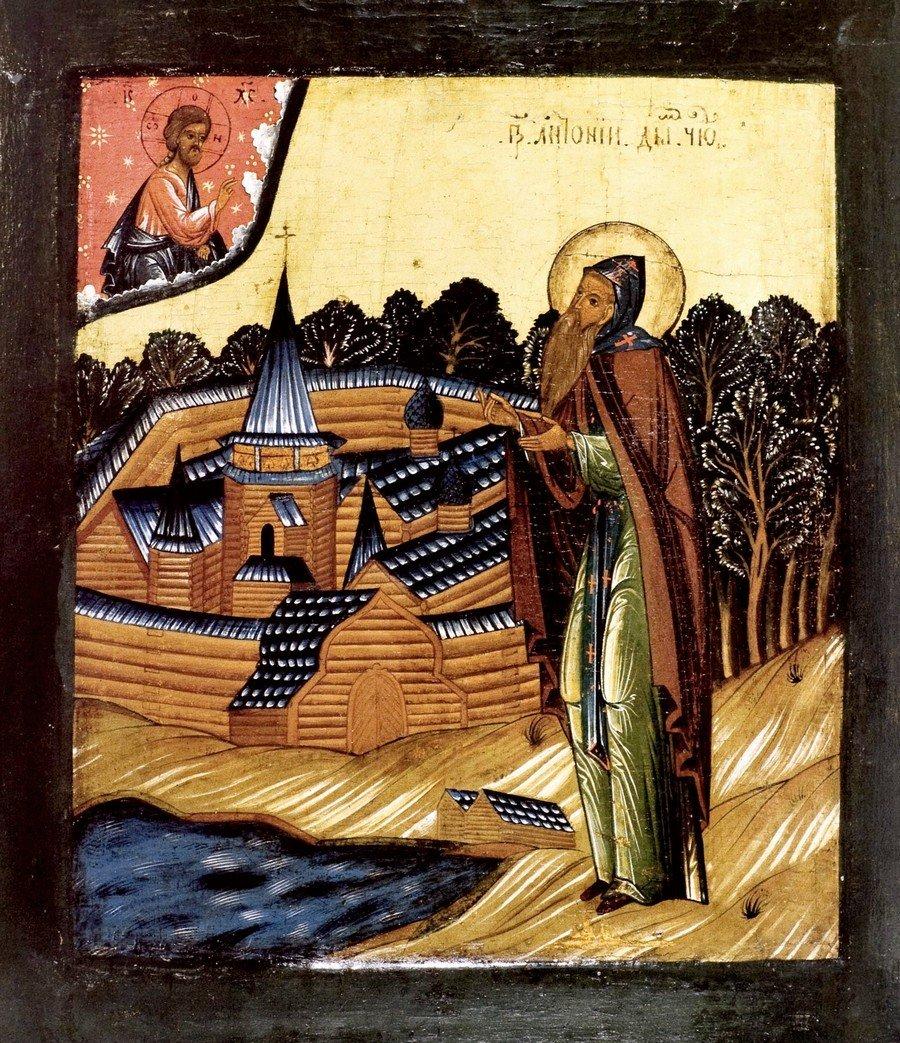 Святой Преподобный Антоний Дымский. Икона. Карелия, XVII век.
