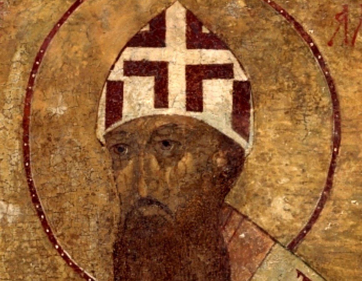 Святитель Кирилл, Архиепископ Александрийский. Фрагмент Царских врат. Россия, 1485 год.