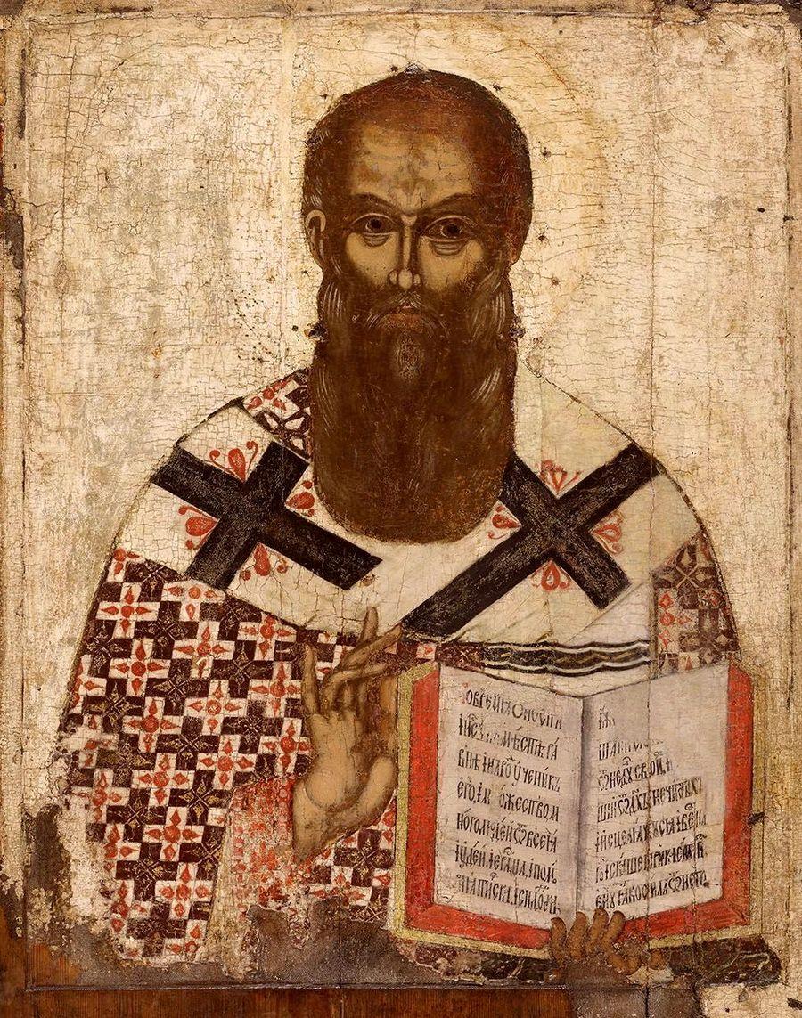 Святитель Афанасий Великий, Архиепископ Александрийский. Икона. Псков, середина XV века.