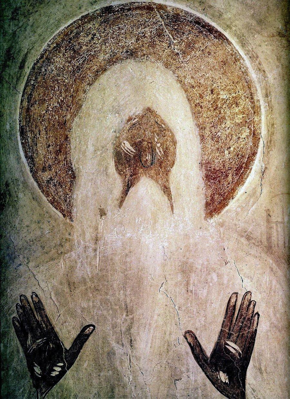 Святой Преподобный Макарий Великий, Египетский. Фреска Феофана Грека в церкви Спаса Преображения на Ильине улице в Новгороде. 1378 год.