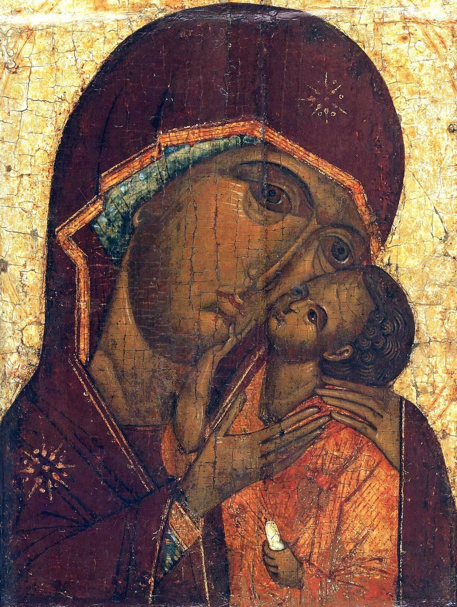 """Икона Божией Матери """"Умиление"""". Москва, вторая четверть - середина XVI века. Фрагмент."""