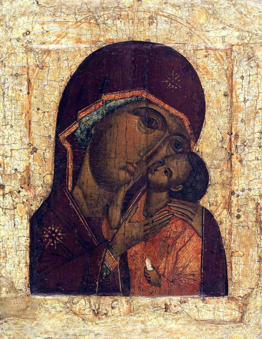 """Икона Божией Матери """"Умиление"""". Москва, вторая четверть - середина XVI века."""