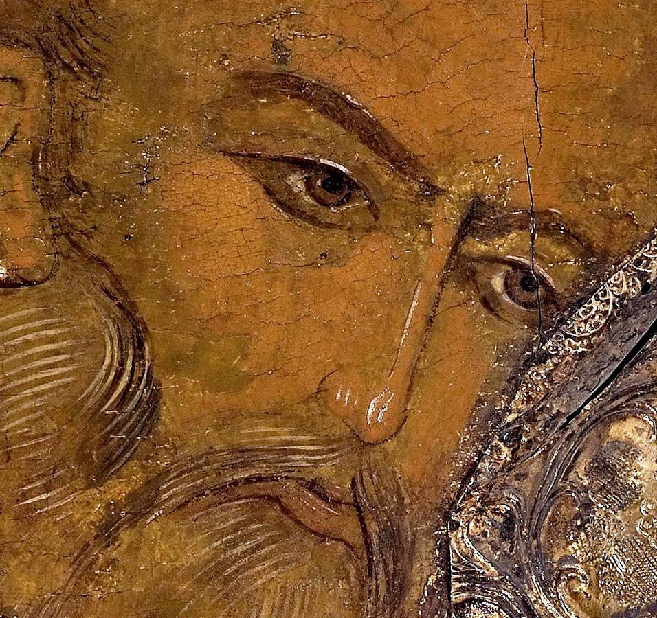 Святитель Григорий Богослов. Икона из деисусного чина иконостаса Успенского собора Кирилло-Белозерского монастыря. 1497 год. Фрагмент.