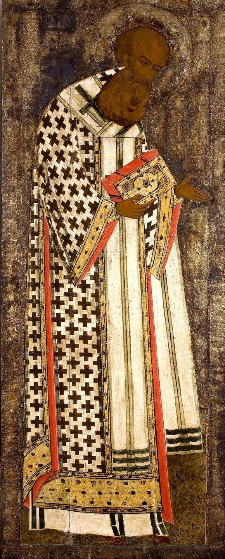 Святитель Григорий Богослов. Икона из деисусного чина иконостаса Успенского собора Кирилло-Белозерского монастыря. 1497 год.