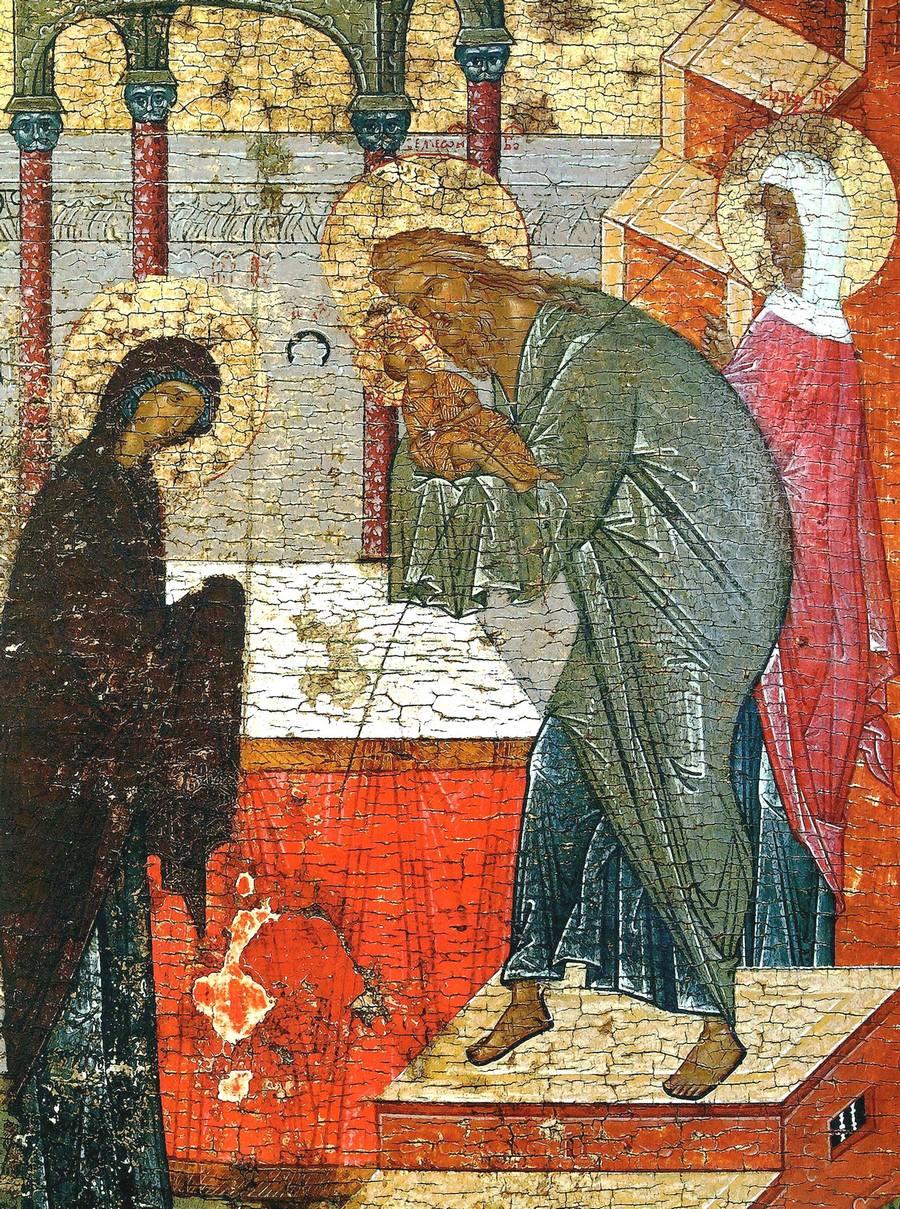 Сретение Господне. Икона. Новгород, вторая четверть XV века. Фрагмент.