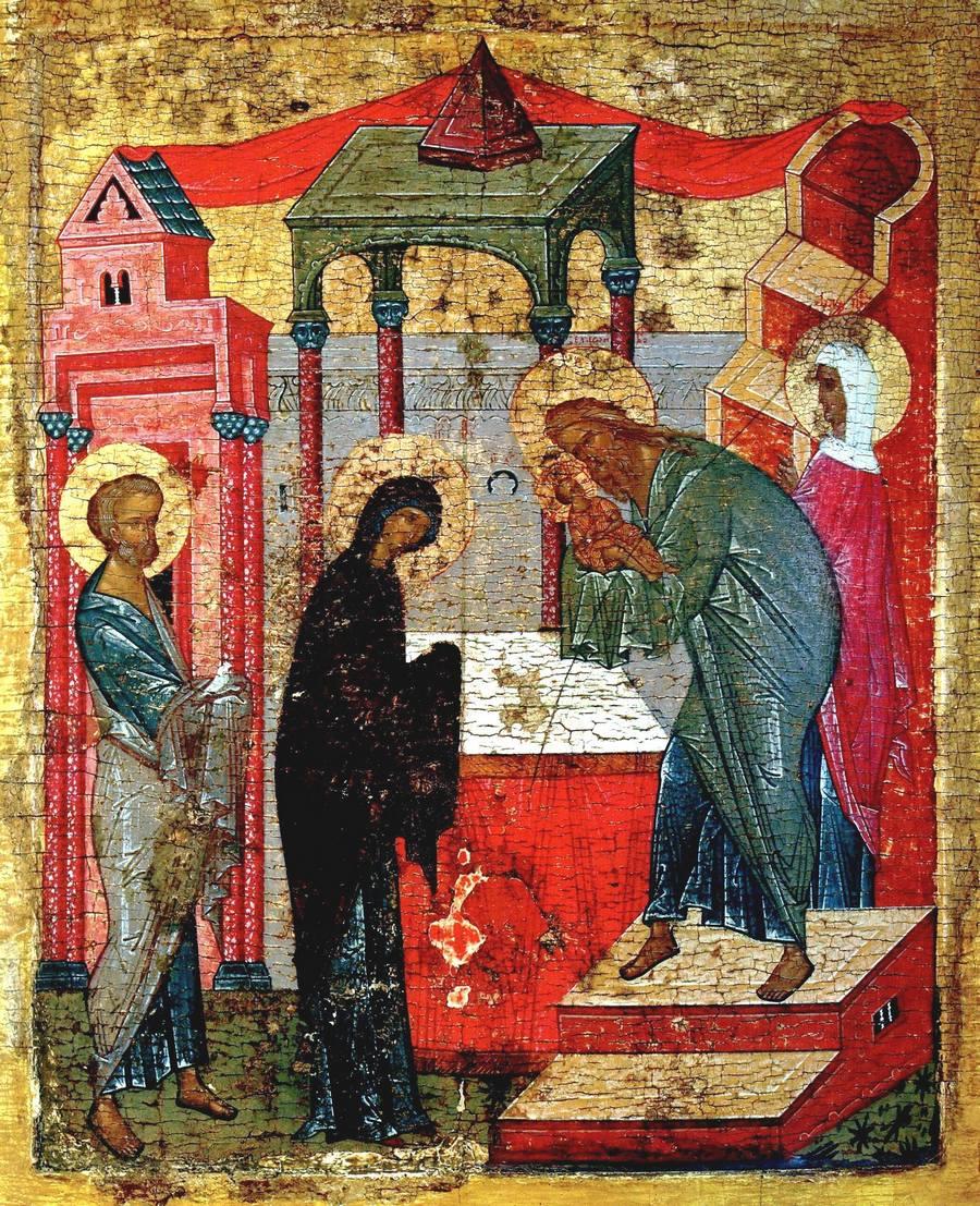Сретение Господне. Икона. Новгород, вторая четверть XV века.