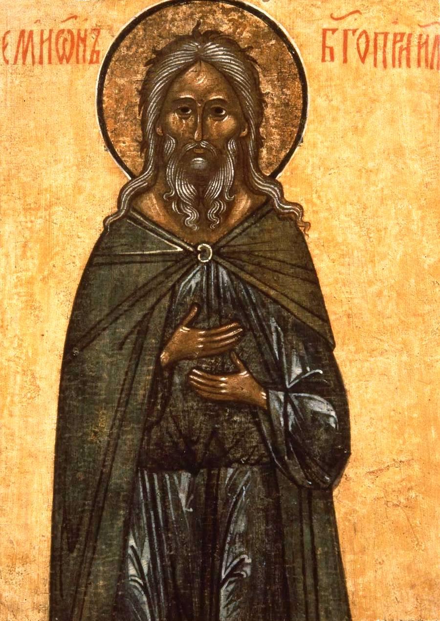 Святой Праведный Симеон Богоприимец. Икона. Новгород, вторая половина XV века.