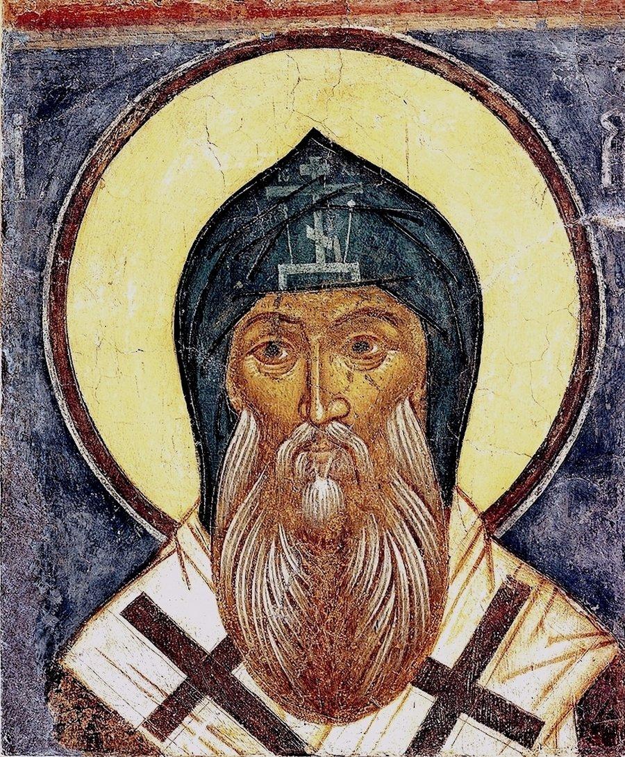 Святитель Арсений, Епископ Тверской. Фреска из Макарьева Калязинского монастыря. 1654 год.