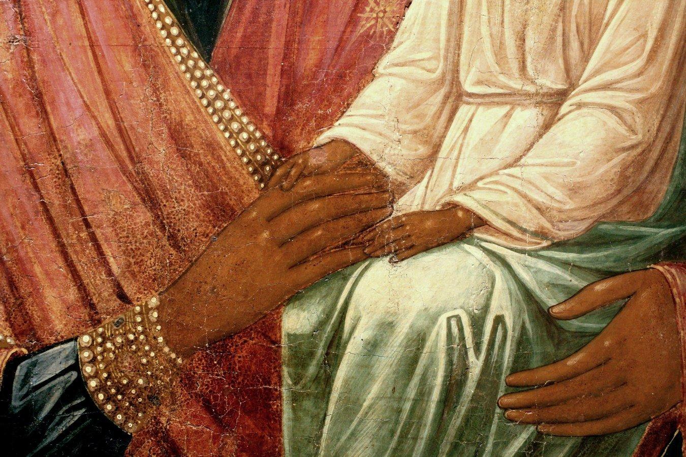 """Икона Божией Матери """"Споручница грешных"""". Палех, вторая половина XIX века. Фрагмент."""