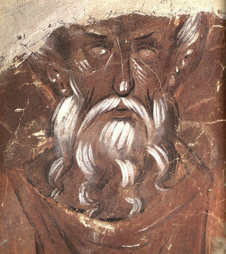 Лик Святого. Фреска Феофана Грека в церкви Спаса Преображения на Ильине улице в Великом Новгороде. 1378 год.