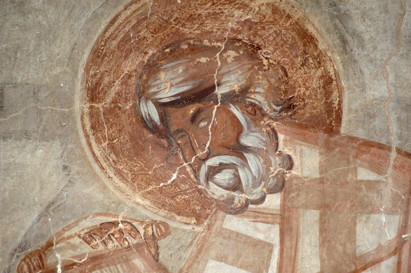 Лик Святителя. Фреска Феофана Грека в церкви Спаса Преображения на Ильине улице в Великом Новгороде. 1378 год.