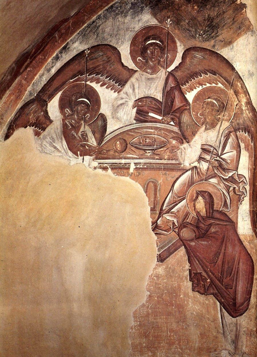Пресвятая Троица. Фреска Феофана Грека в церкви Спаса Преображения на Ильине улице в Великом Новгороде. 1378 год.