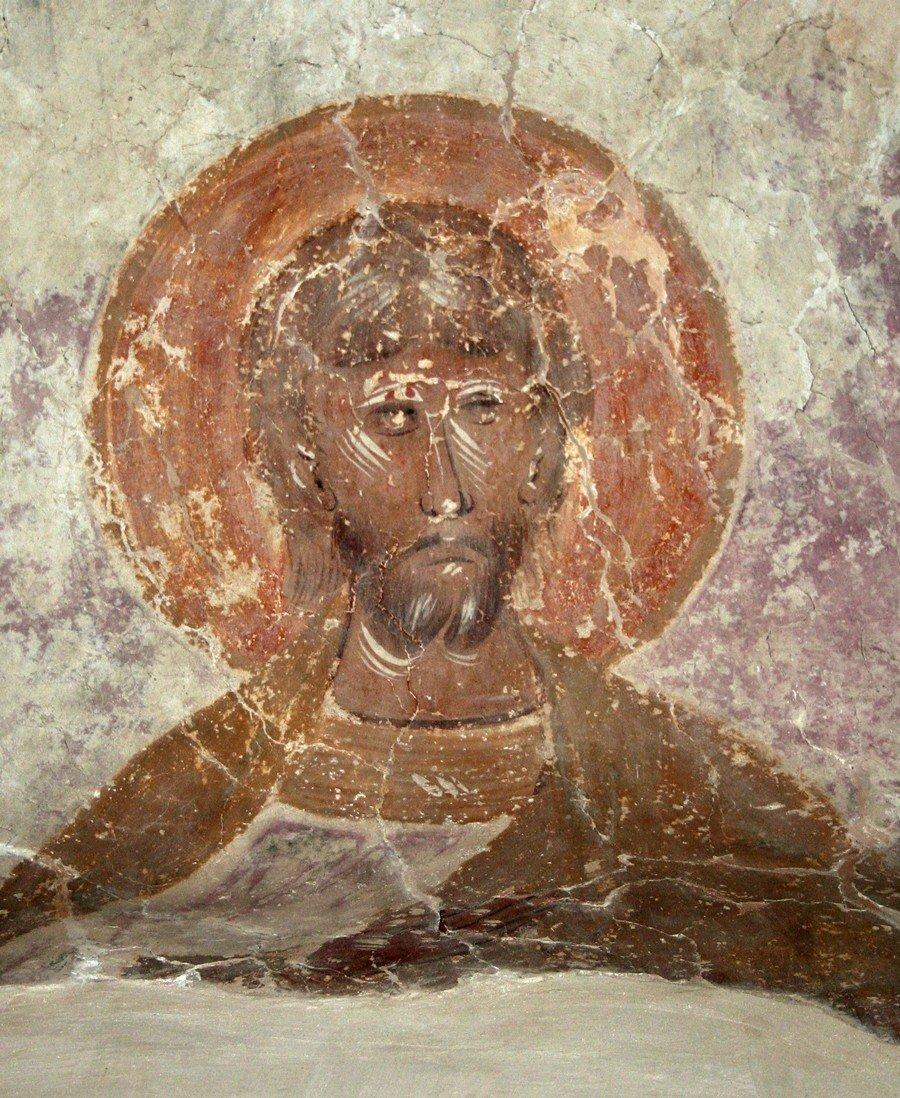 Святой воин. Фреска церкви Святого Феодора Стратилата на Ручью в Великом Новгороде. 1380 - 1390-е годы.