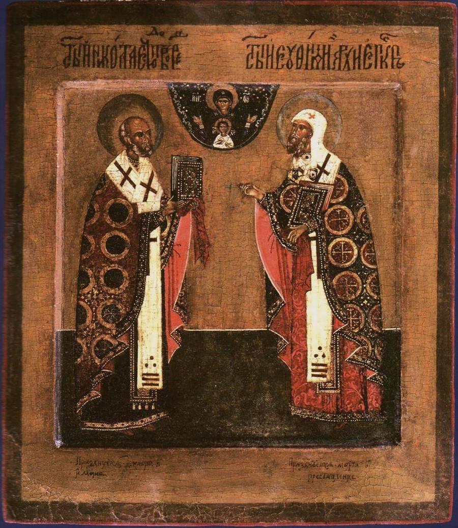 Святители Николай, Архиепископ Мир Ликийских, Чудотворец, и Евфимий, Архиепископ Новгородский. Икона XVII века.
