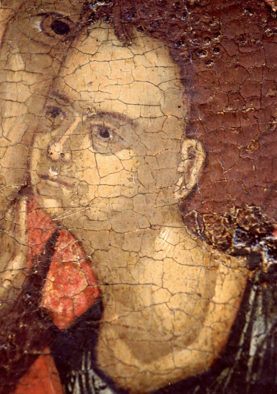 Чудотворная Любятовская икона Божией Матери. Псков, середина XV века. Фрагмент.