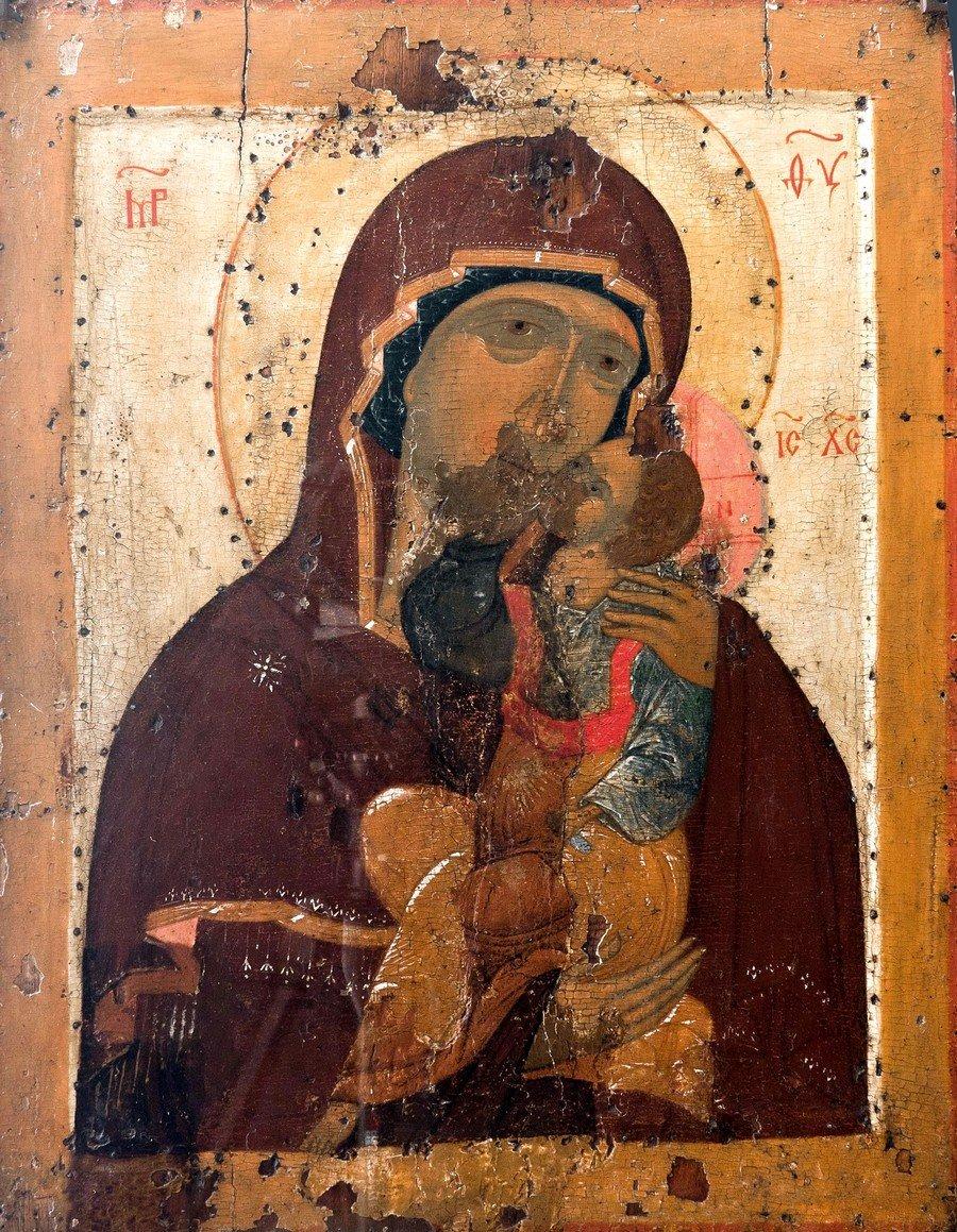 """Икона Божией Матери """"Умиление"""". Ростов Великий, XV век."""