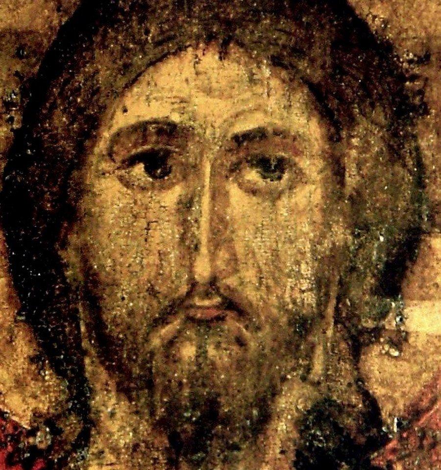 """Чудотворная икона """"Спас Елеазаровский"""". Псков, середина XIV века. Лик Спасителя."""