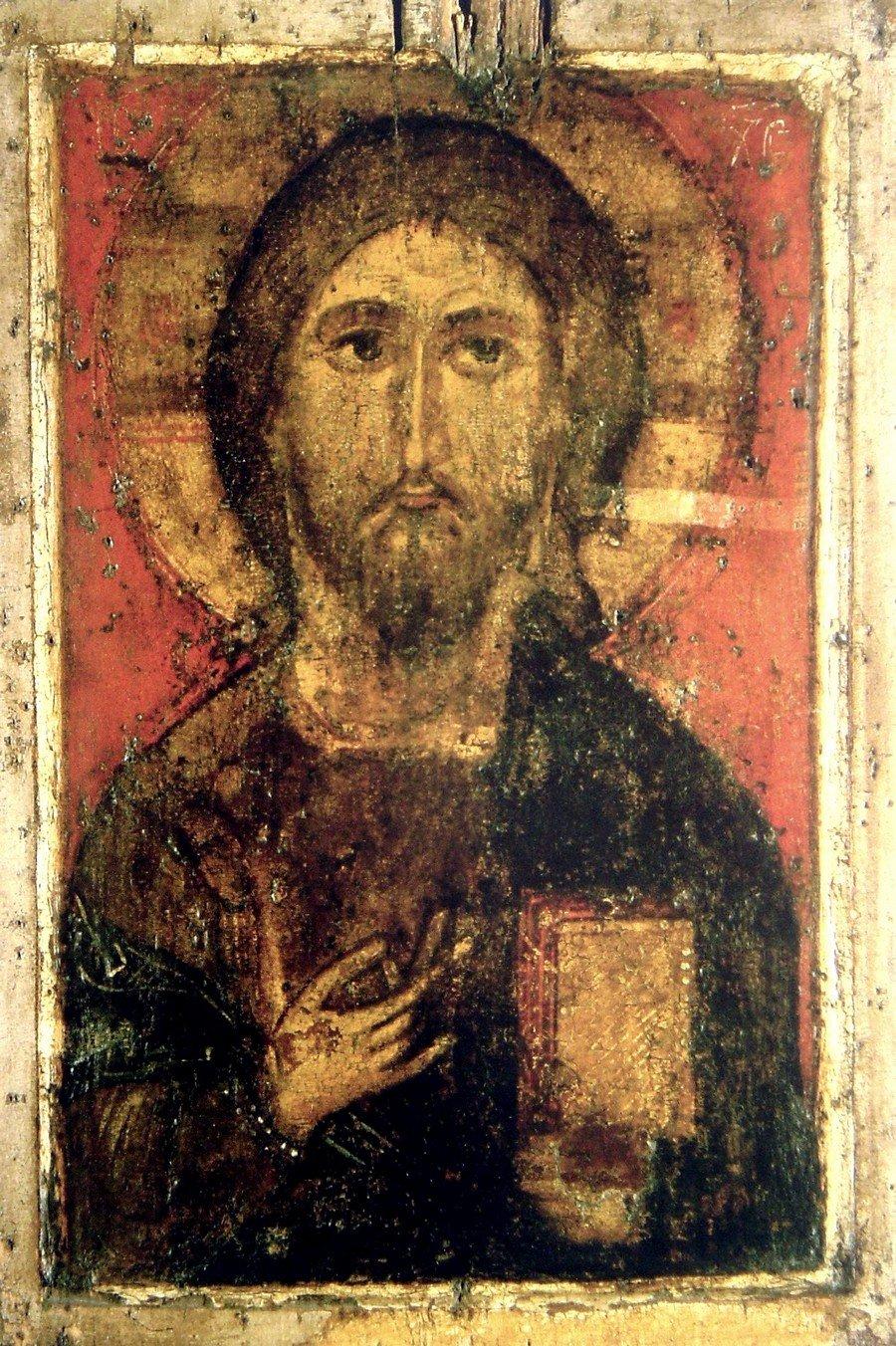 """Чудотворная икона """"Спас Елеазаровский"""". Псков, середина XIV века."""