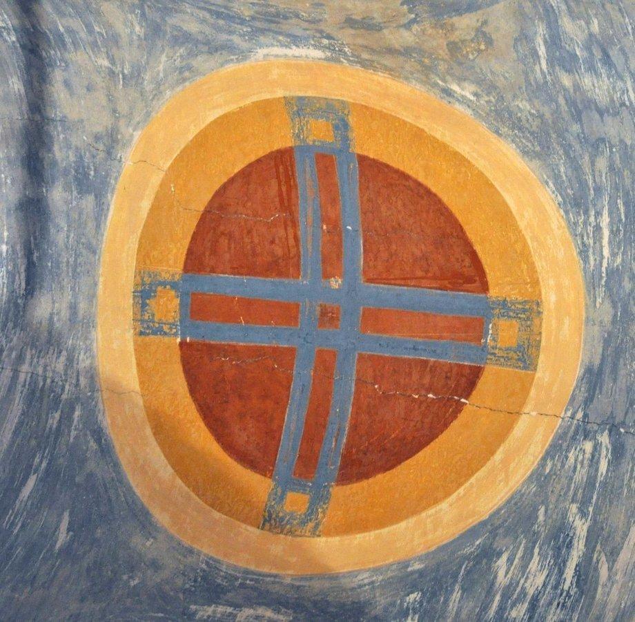 Святой Крест. Фреска Дионисия в соборе Рождества Пресвятой Богородицы Ферапонтова монастыря. 1502 год.