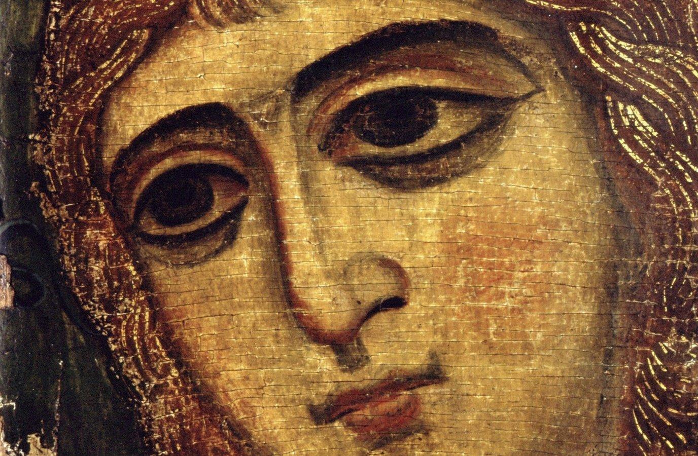 """Архангел Гавриил (""""Ангел Златые власы""""). Икона. Русь, около 1200 года. Фрагмент."""