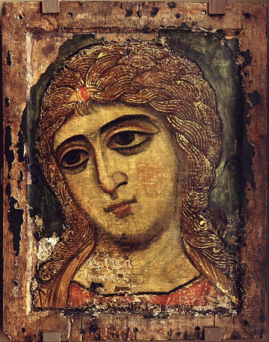"""Архангел Гавриил (""""Ангел Златые власы""""). Икона. Русь, около 1200 года."""