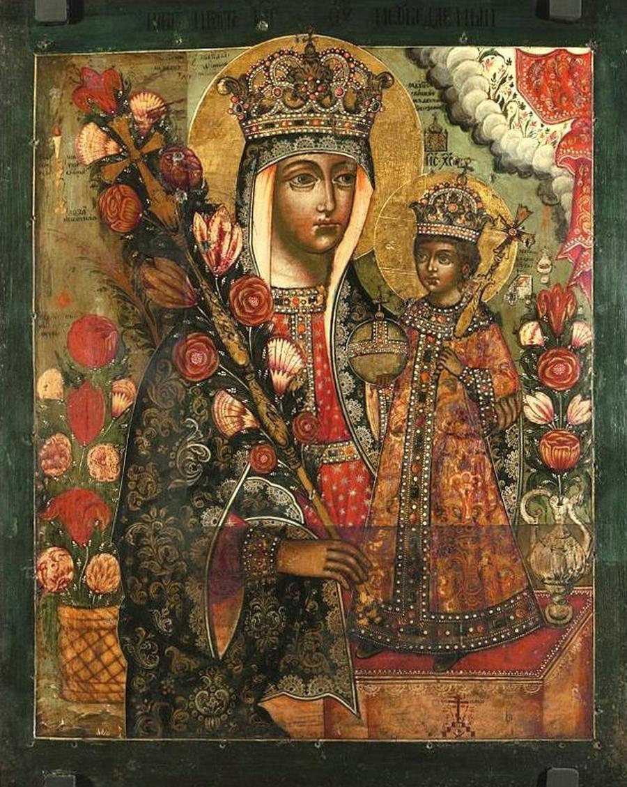 """Икона Божией Матери """"Неувядаемый Цвет"""". Россия, конец XVII века."""