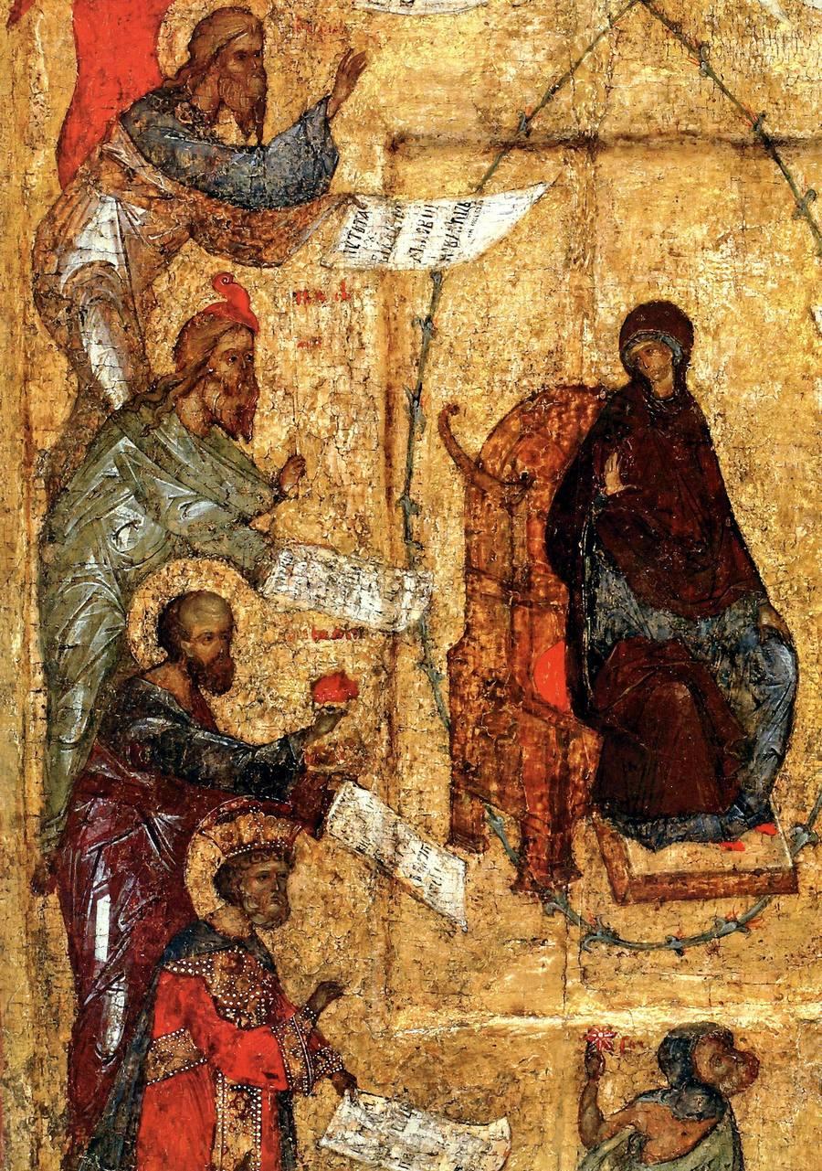 Похвала Пресвятой Богородицы. Икона. Москва, третья четверть XV века. Фрагмент.