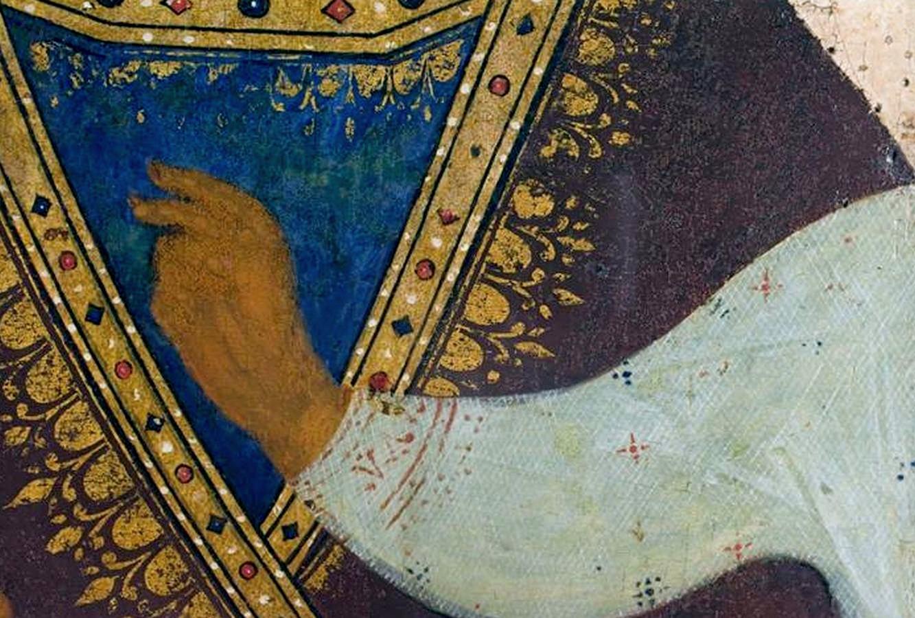 """Икона Божией Матери """"Одигитрия"""". 1502 год. Из Ферапонтова монастыря. Иконописец Дионисий и его мастерская. ГРМ.Фрагмент."""