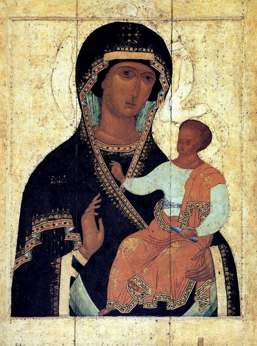 """Икона Божией Матери """"Одигитрия"""". 1502 год. Из Ферапонтова монастыря. Иконописец Дионисий и его мастерская. ГРМ."""