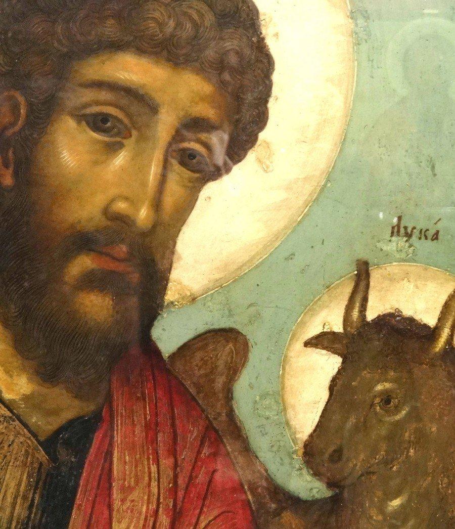 Святой Апостол и Евангелист Лука. Фрагмент Царских врат. Иконописец Симон Ушаков. 1672 год.