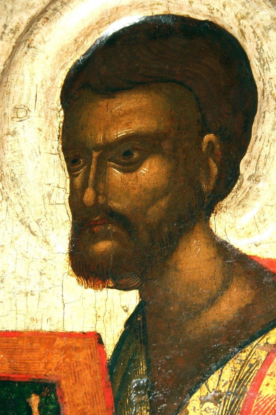 Святой Апостол и Евангелист Лука. Икона из деисусного чина из церкви Успения с Пароменья во Пскове. Около 1444 года. Фрагмент.