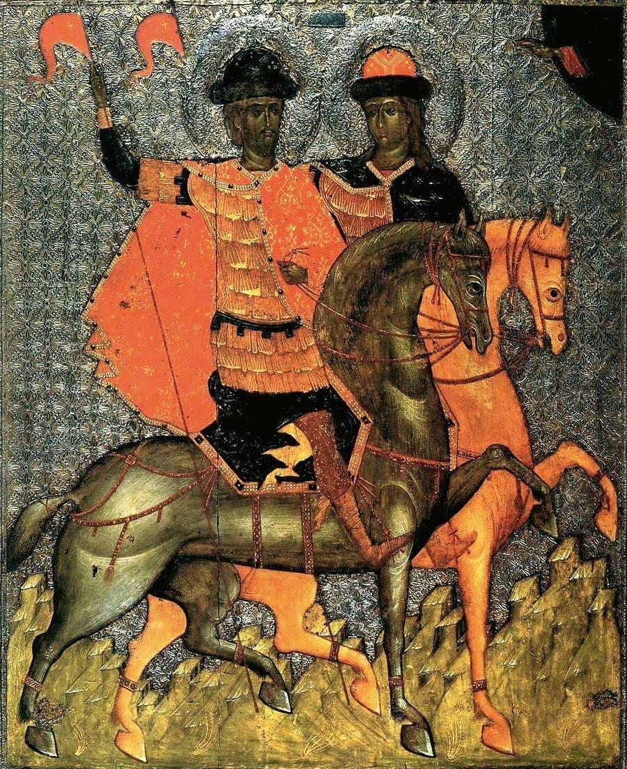 Святые Благоверные Князья-Страстотерпцы Борис и Глеб. Икона. Новгород, около 1377 года. Оклад изготовлен около 1537 года. Новгородский музей.