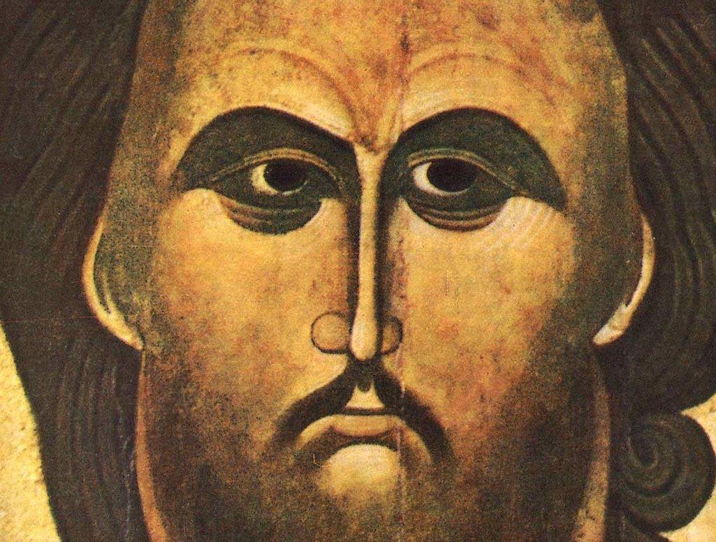 Оплечная икона Спасителя. Новгород, конец XIV - начало XV века. Фрагмент.