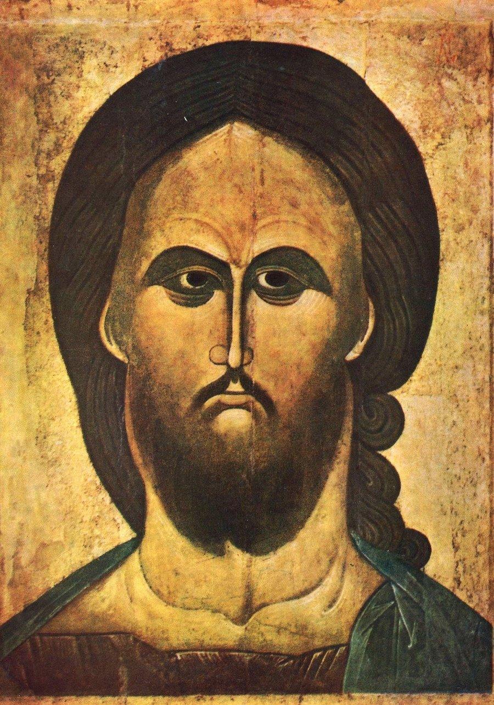 Оплечная икона Спасителя. Новгород, конец XIV - начало XV века.